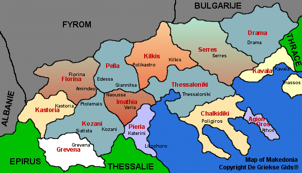 Landkaart Macedonie - Makedonia Griekenland - Kaart Macedonie