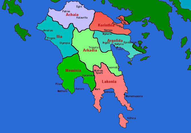 Peloponessos - Map of Peloponnese